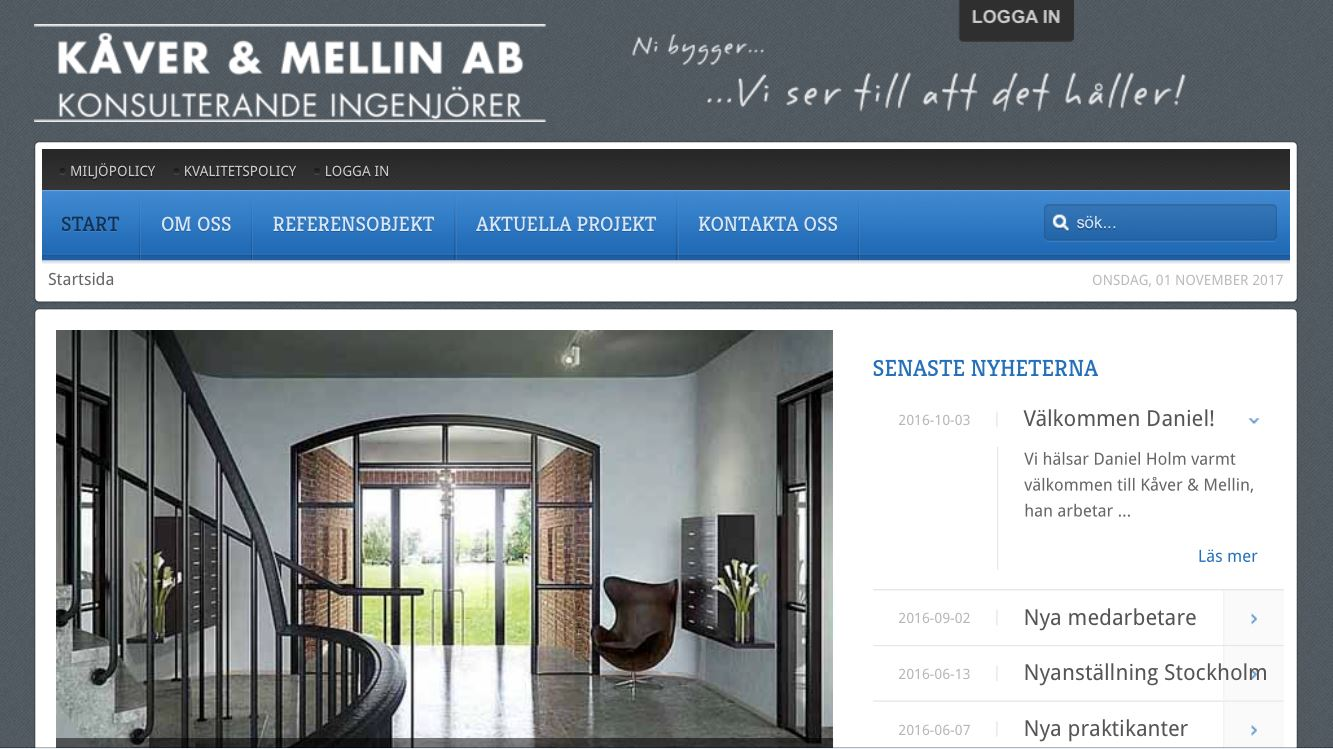 Kåver & Mellins tidigare hemsida.